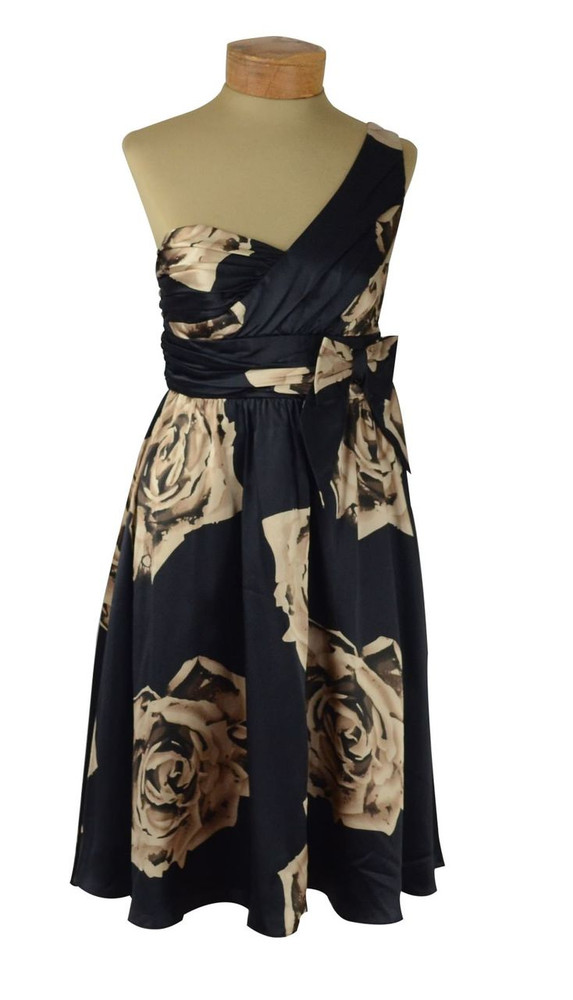 Betsey Johnson Black Rose Asymmetrical Dress