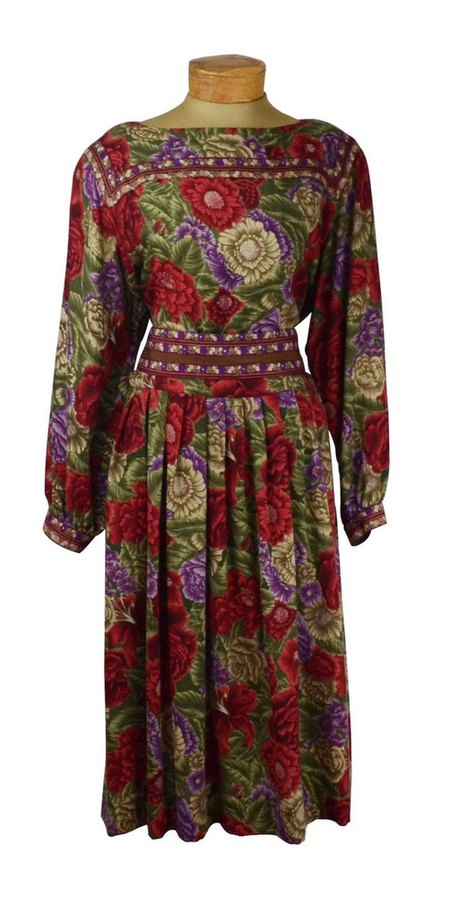 Vintage 1970s Albert Nipon Wool Rose Dress