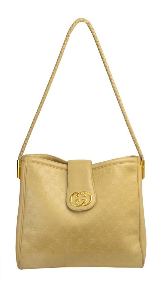 ff737671f8a Vintage 1990s Gucci Beige Leather Logo Bag ...