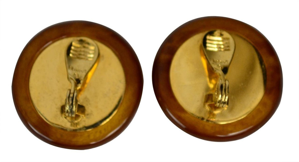 Monet Caramel Button Earrings