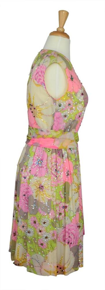 Vintage 1960s Pastel Floral Sequined Shift Dress