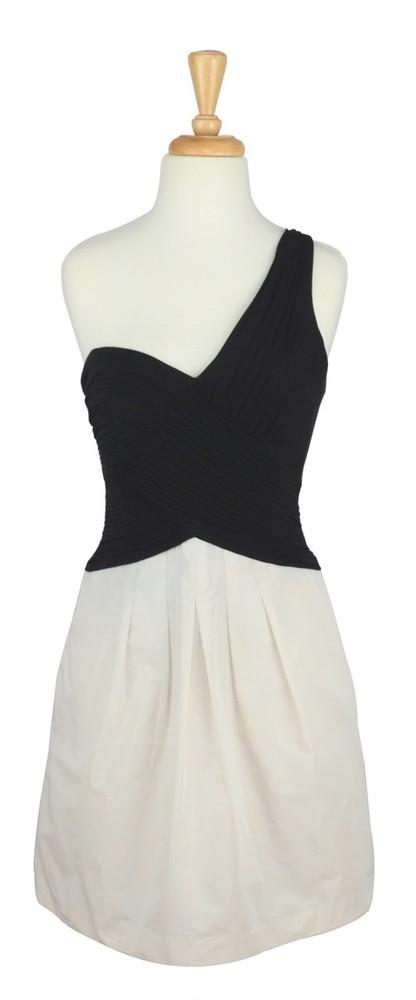 BCBG Max Azria Black & White Asymmetrical Dress