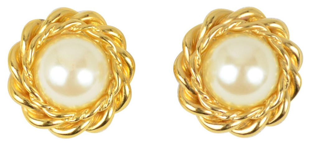 St. John Gold Tone Rope & Pearl Earrings
