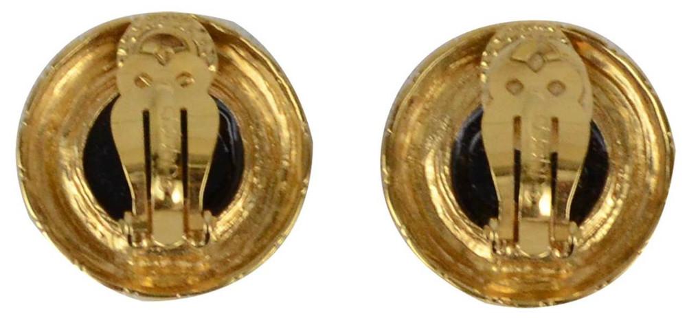 St. John Circle Gold Tone Enamel Earrings