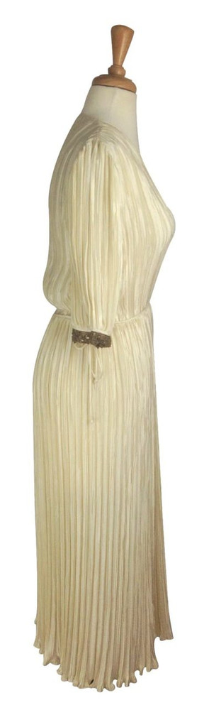 Vintage Mary McFadden Cream Grecian Fortuny Pleat Dress