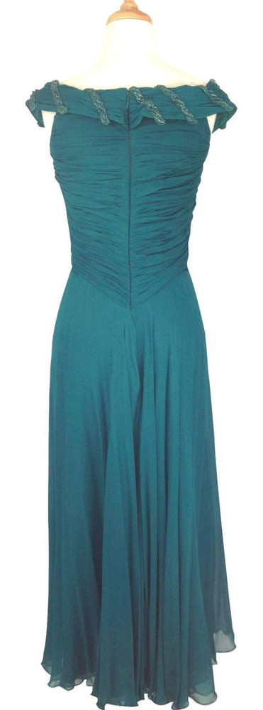 Vintage 1960s Teal Chiffon Ruched Evening Dress