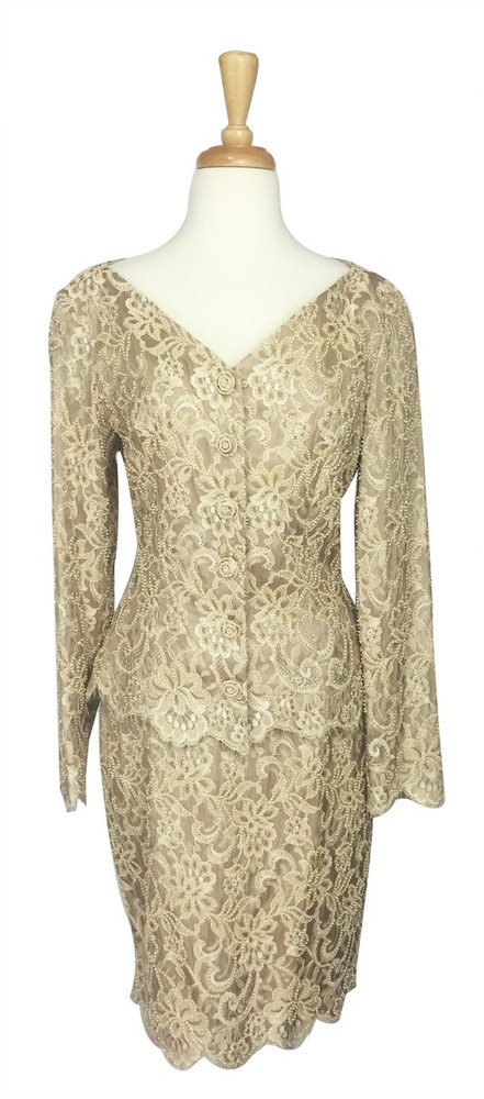Carmen Marc Valvo Beige Lace Beaded Skirt Suit