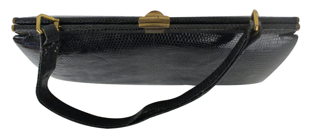 Vintage 1950s Navy Blue Crocodile Handbag