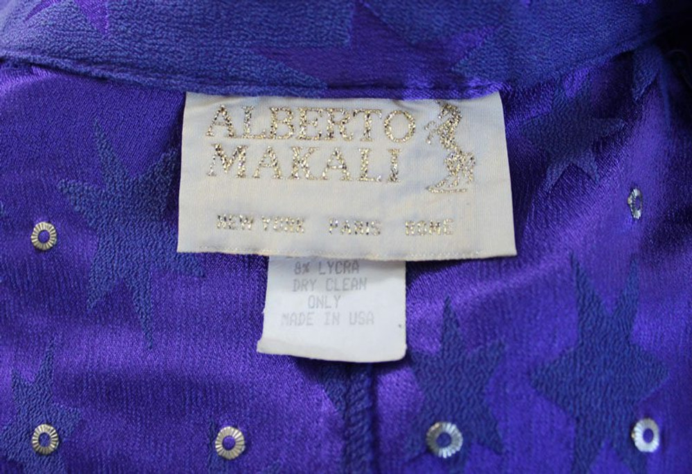 Vintage Alberto Makali Royal Purple Stars Skirt Suit Ensemble