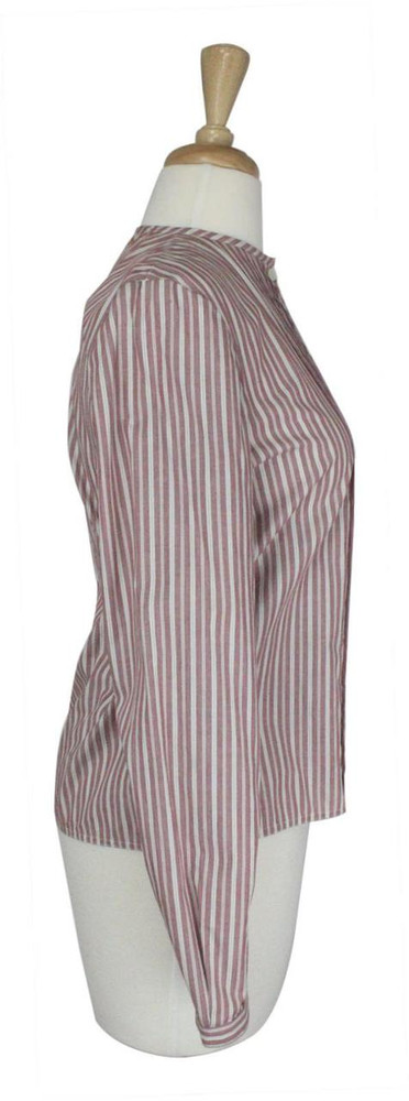 Vintage Geoffrey Beene 1970s Red & White Striped Top With Pintucked Pleats