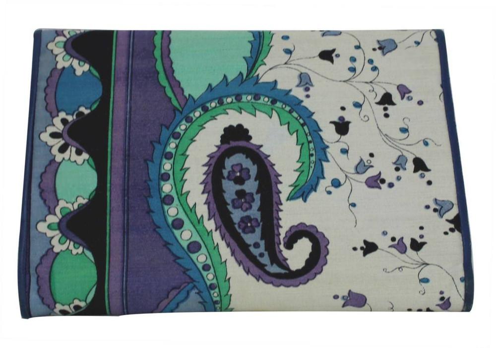 Vintage Emilio Pucci 1960s Blue Floral and Paisley Print Envelope Clutch