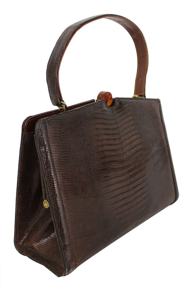 Vintage Escort 1950s Brown Lizard Handbag