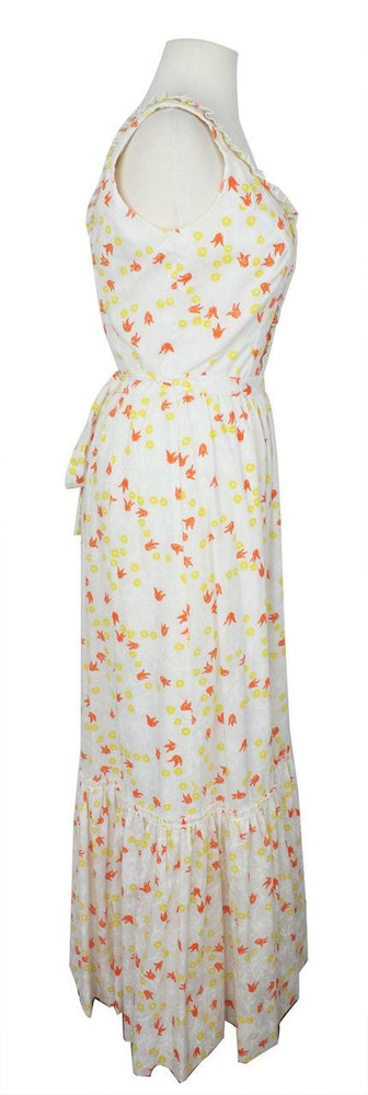 Vintage Lilly Pulitzer 1960s White Maxi Dress with Orange & Yellow Tulips