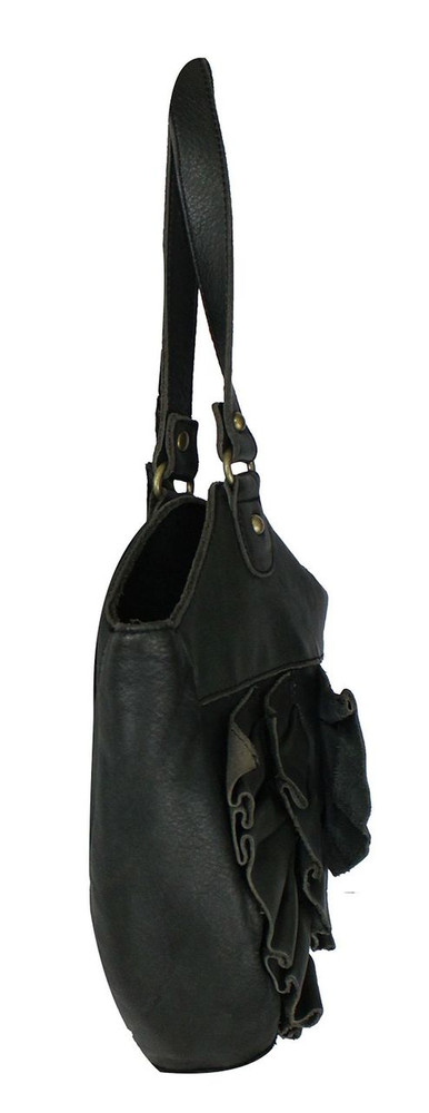 Lucky Penny Anthropologie Off Black Leather Bag