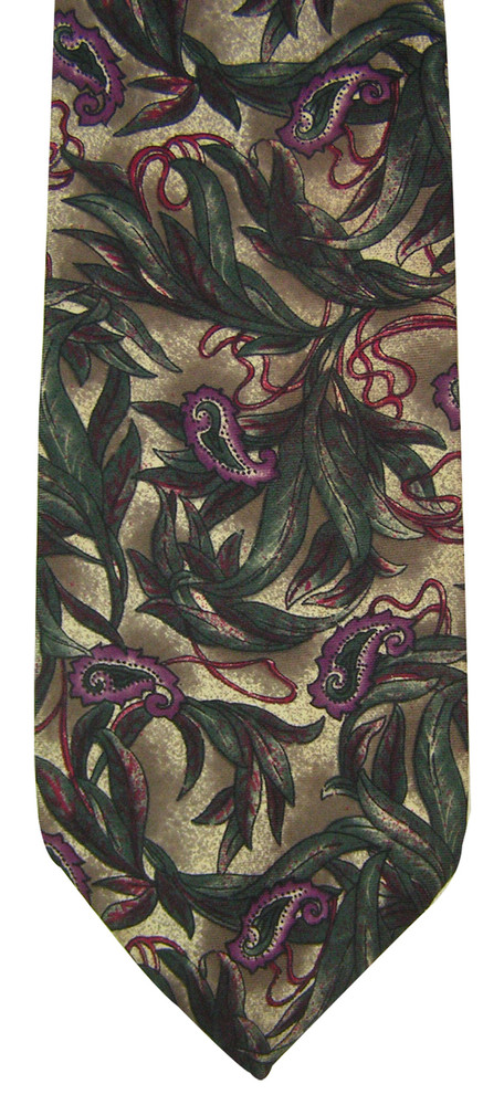 Christian Dior Purple and Green Paisley Botanical Tie