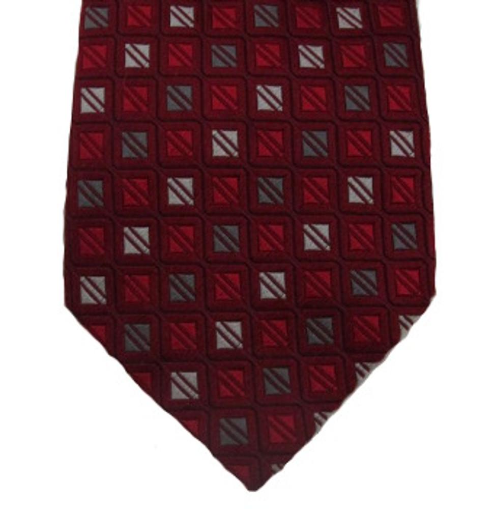 Ermenegildo Zegna Red & Gray Squares Tie