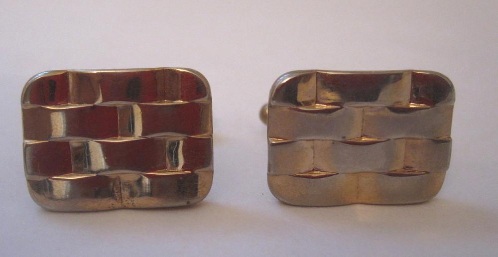 Gold Rectangular Woven Cufflinks