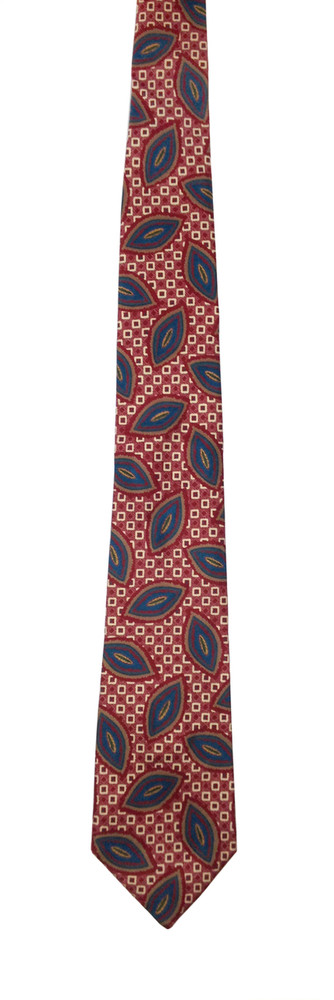 Liberty of London red, blue white leaf tie