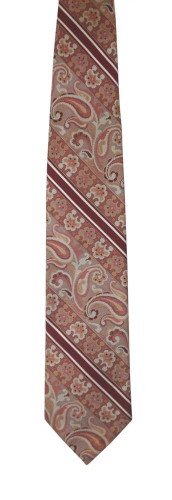 Maroon Diagonal Stripe Paisley Tie