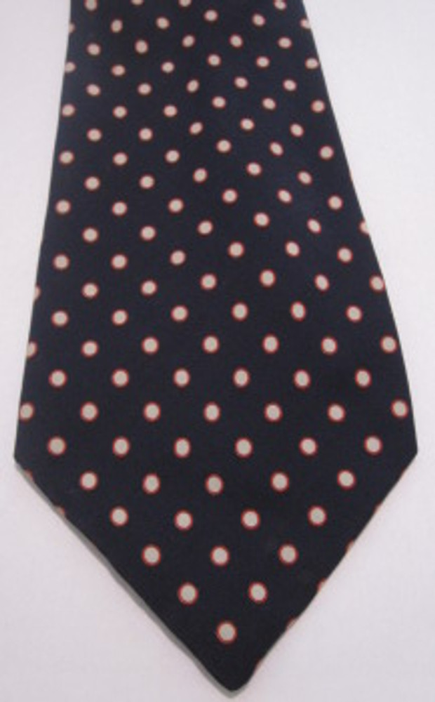 Navy Blue Tie with Red & White Dots
