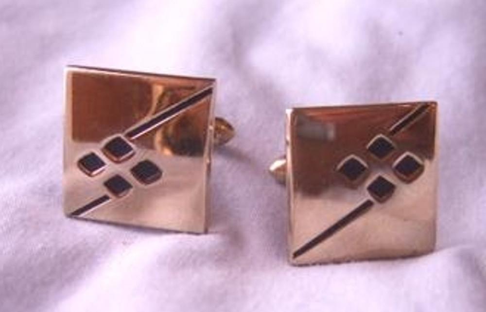 Retro gold square cuff links