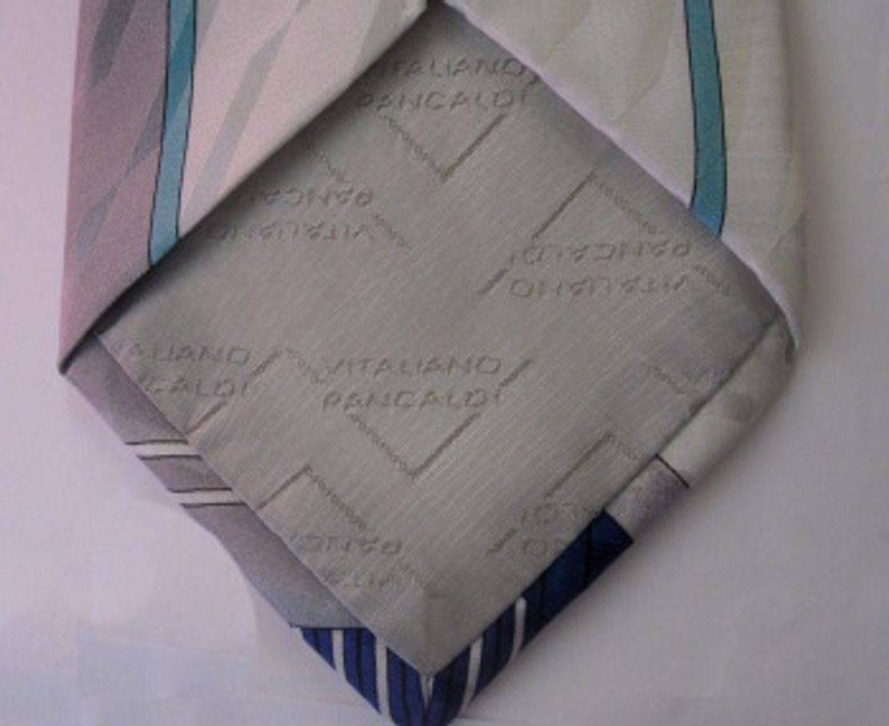 Vitaliano white silk 80s tie