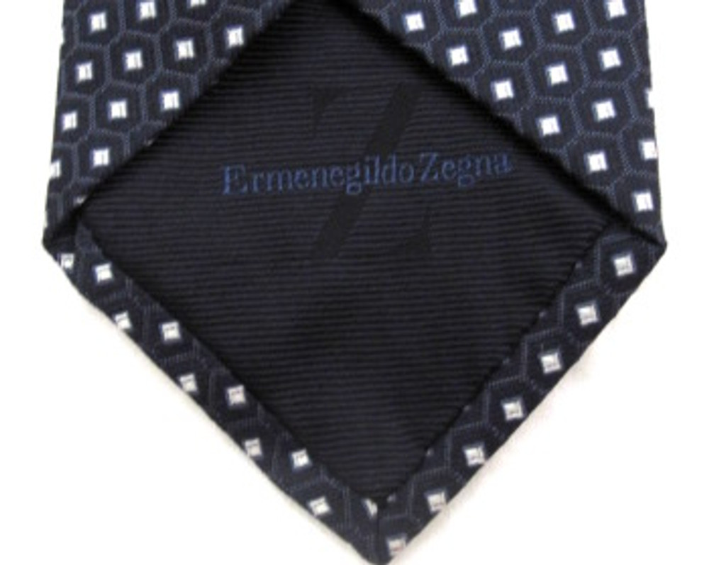 Zegna navy blue & white textured tie