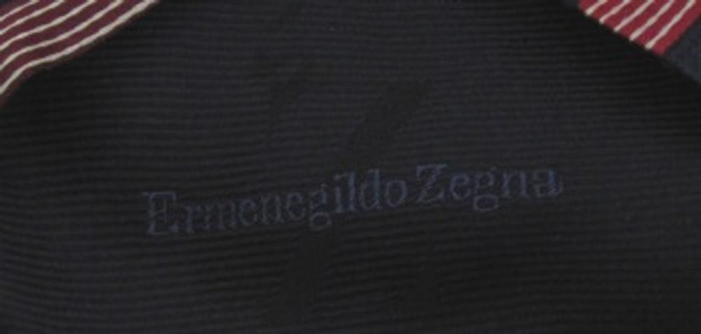 Zegna navy blue, red white diagonally striped tie