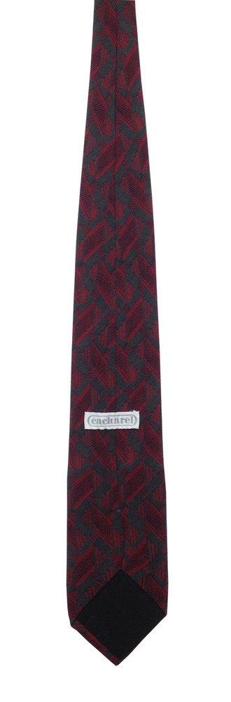 Vintage Cacharel Abstract Grey & Hot Pink Silk Tie
