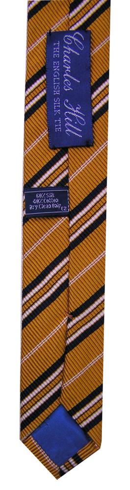 Charles Hill Mustard Yellow Stripe Silk Tie