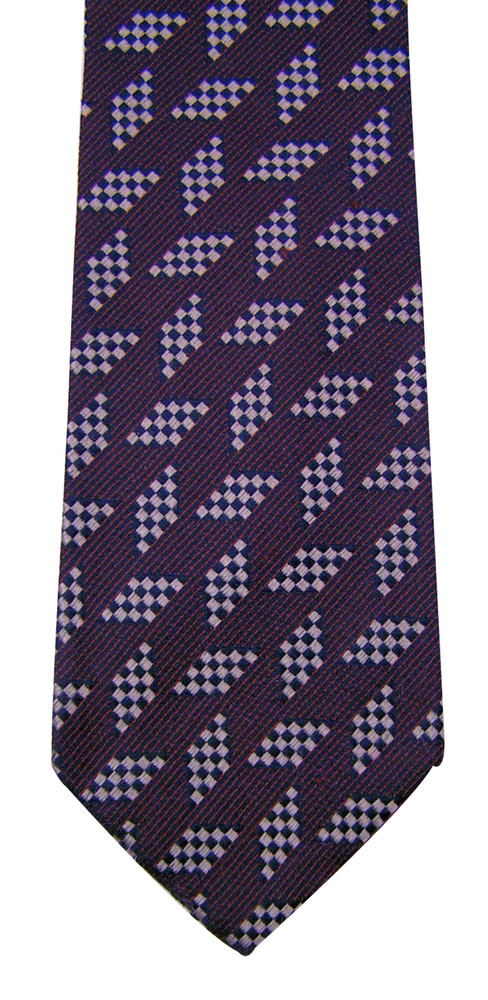 Ermenegildo Zegna Navy Silk Geometric Square Grid Tie