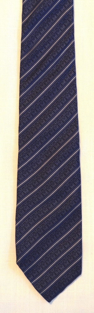 Christian Dior Blue Silk Neat Floral & Stripes Tie