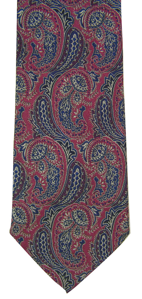 Hickey Freeman Blue & Purple Brocade Paisley Tie