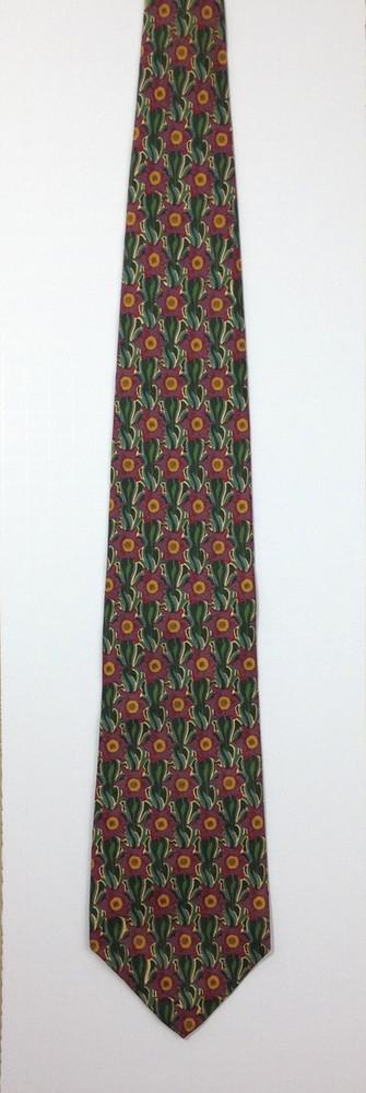Liberty of London Green & Purple Geometric Floral Print Tie