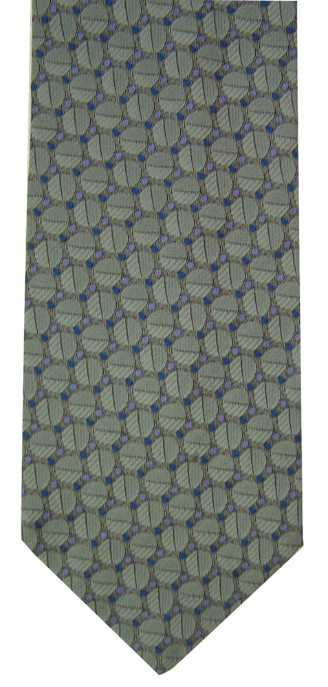 Hickey Freeman Silvery Blue Geometric Brocade Tie