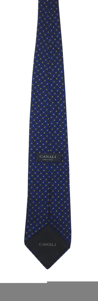 Canali Navy Blue Textured Silk Tie with Royal Blue Circle and Yellow Pin Dot Pattern