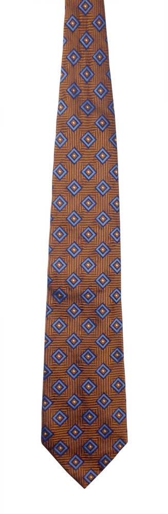 Faconnable Woven Silk Orange and Blue Geometric Patterned Tie