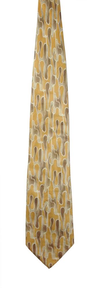 Robert Talbott Tan and Brown Abstract Drip Textured Woven Silk Tie