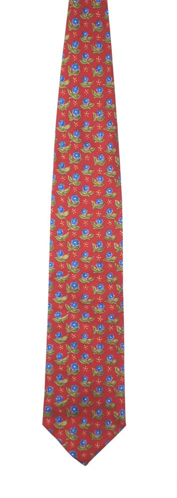 Ermenegildo Zegna Red Tie with Blue & Green Flowers