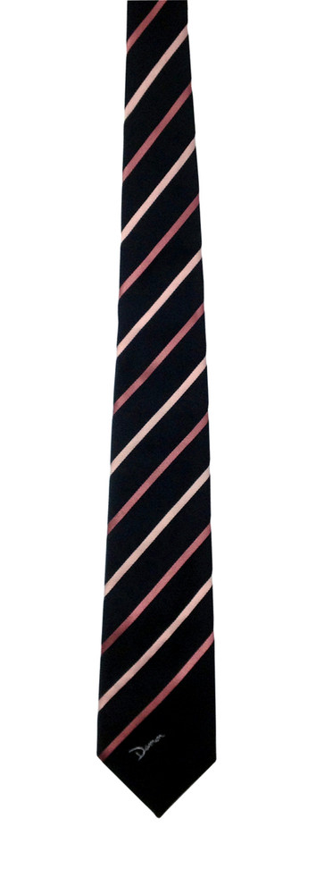 Vintage Damon Black Skinny Tie with Two Tone Pink Diagonal Stripes