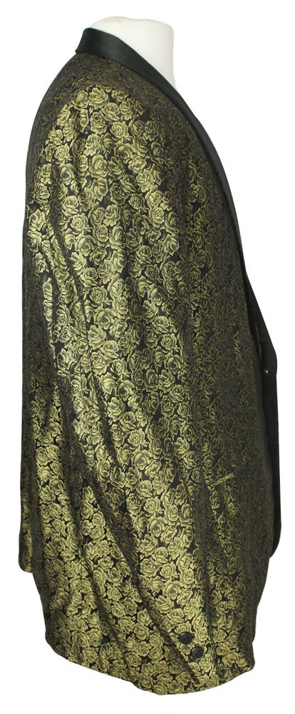 Vintage Gold and Black Brocade Smoking Jacket