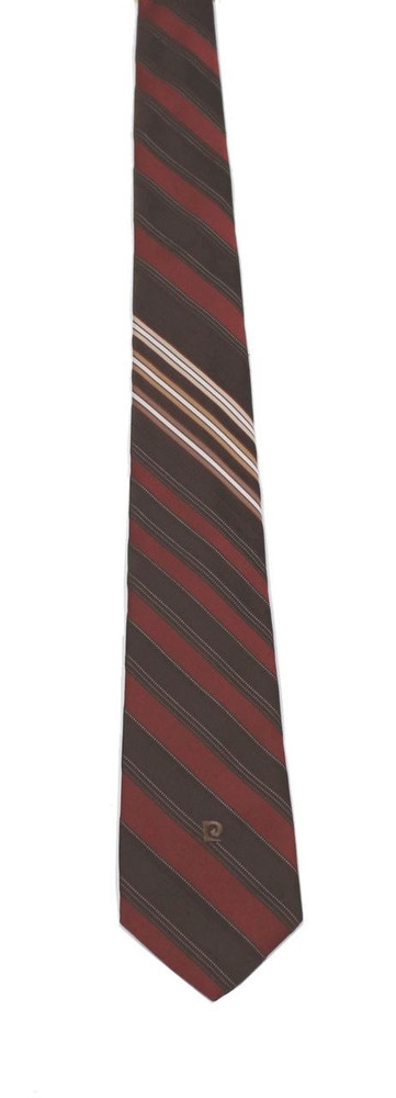 Vintage Pierre Cardin 1970s Brown Striped Silk Tie