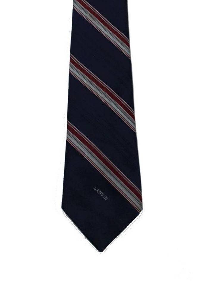 Vintage Lanvin Navy Blue Striped Tie