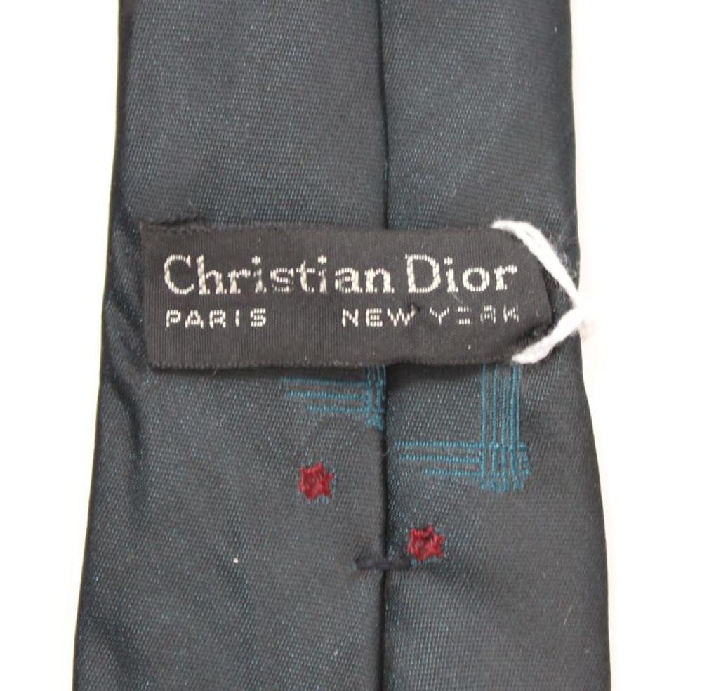 Vintage Christian Dior Dark Skinny Silk Tie