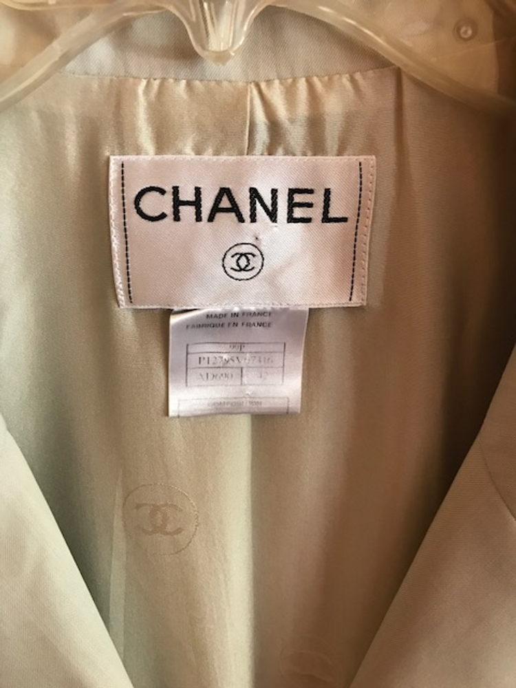 Chanel Longline Neutral Tan Lightweight Wool Blazer