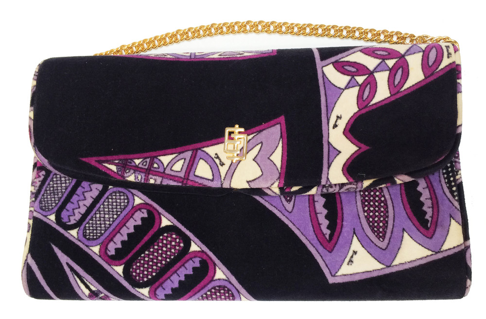 Vintage Emilio Pucci Purple & Black Velvet Clutch