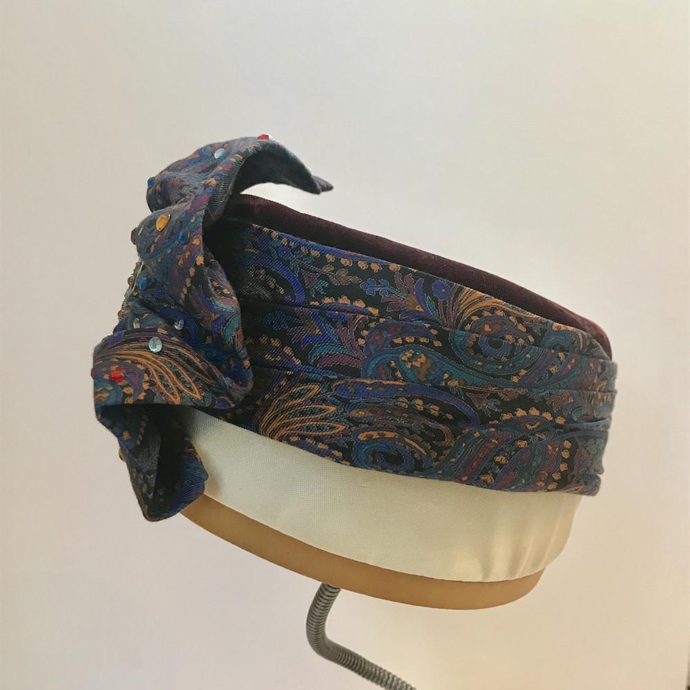 Paisley, Velvet & Rhinestone Turban Style Pillbox Hat