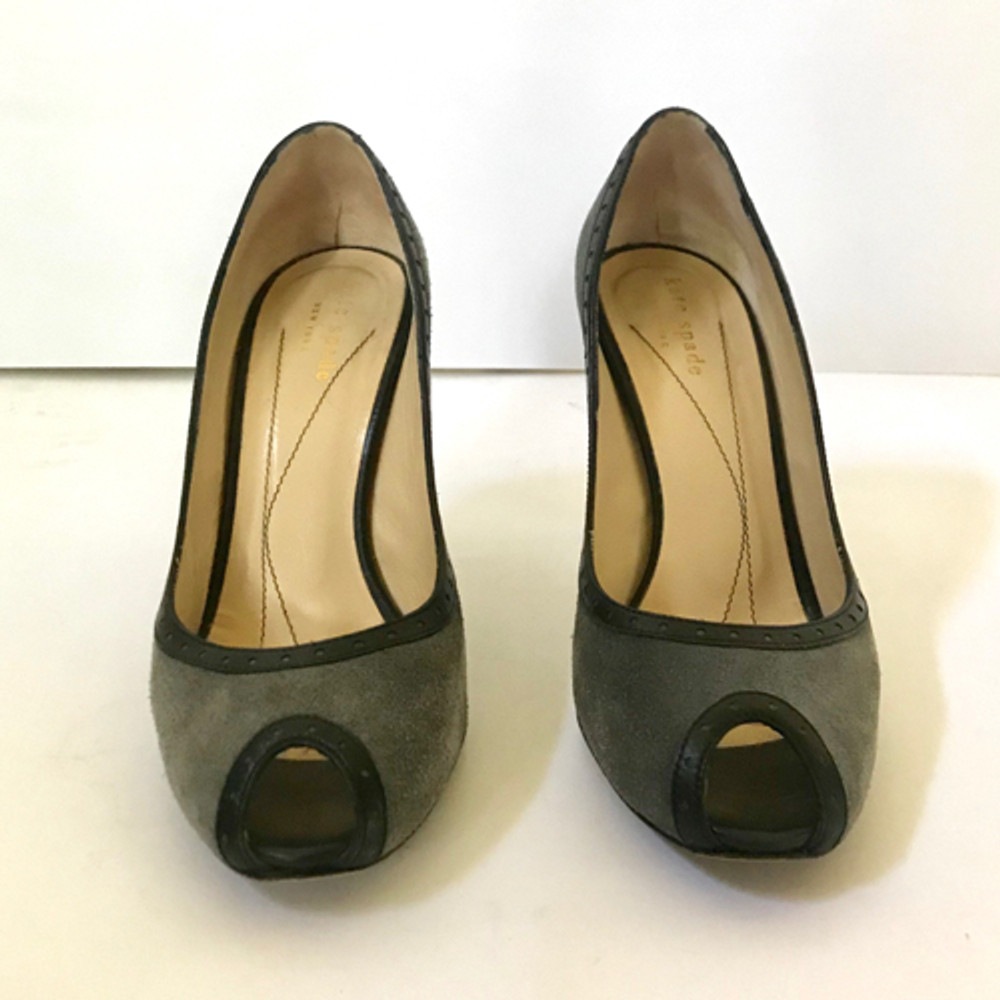 Kate Spade Gray suede peep toe pumps