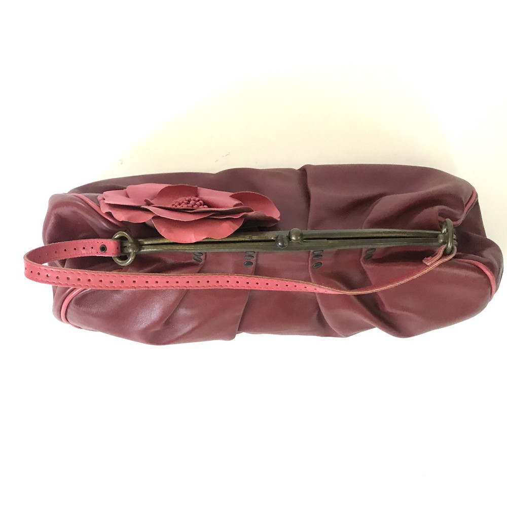 Jamin Puech Red Leather Bag with Pink Flower