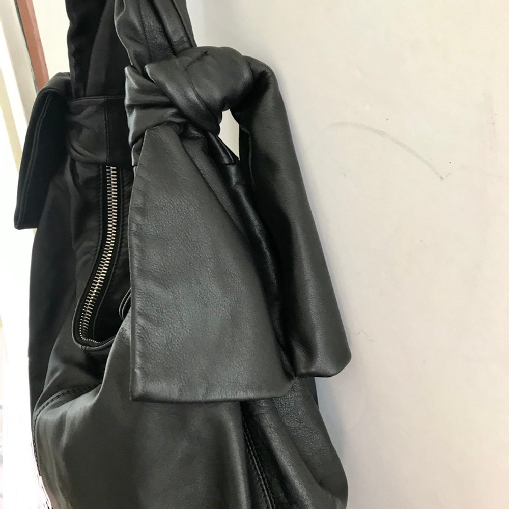Moschino Black Leather Biker Bag